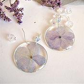 Украшения handmade. Livemaster - original item Earrings with Real Flowers of Blue Hydrangea Resin Botany Eco. Handmade.