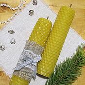 Свечи ручной работы. Ярмарка Мастеров - ручная работа Свечи из вощины с мелиссой 14 см,д 3см. Handmade.