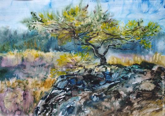 Пейзаж ручной работы. Ярмарка Мастеров - ручная работа. Купить И на камнях растут деревья.... Handmade. Сосна, Осенний лес
