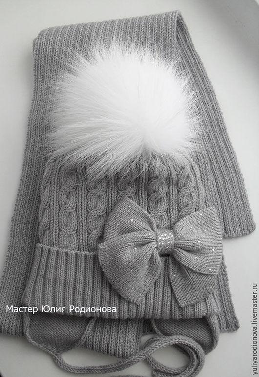 Шапки и шарфы ручной работы. Ярмарка Мастеров - ручная работа. Купить Зимний мериносовый комплект. Handmade. Серый, зимний шарф
