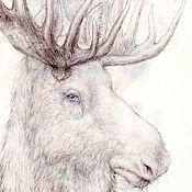 Картины и панно ручной работы. Ярмарка Мастеров - ручная работа Белый лось.. Handmade.