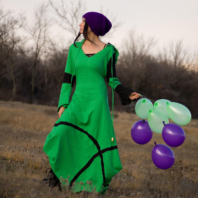 32a8552e8aa Dresses handmade. Livemaster - handmade. Buy Long Green Linen Elven Dress. Dress ...