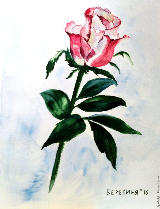 Картины цветов ручной работы. Ярмарка Мастеров - ручная работа. Купить Роза. Handmade. Розовый, цветы, акварель