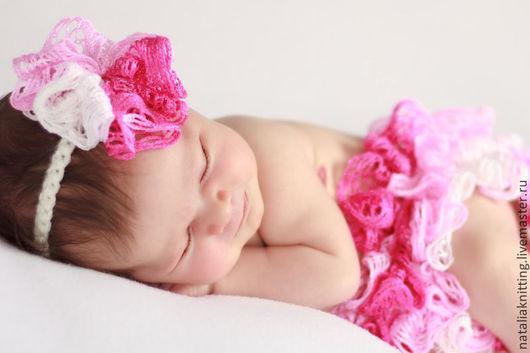 Для новорожденных, ручной работы. Ярмарка Мастеров - ручная работа. Купить Юбочка с повязкой для фотосессии (розовый комплект). Handmade. Розовый