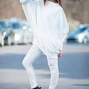 Одежда handmade. Livemaster - original item Spring, white cotton suit /trousers and tunic/ - SE0660CK. Handmade.