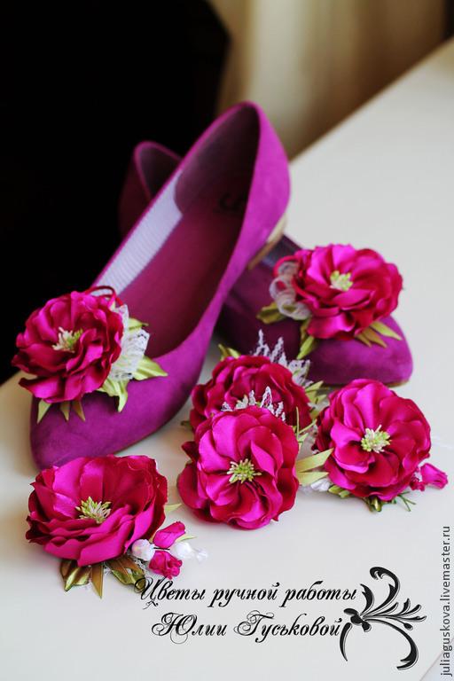Комплекты украшений ручной работы. Ярмарка Мастеров - ручная работа. Купить Клипсы  для туфель. Handmade. Фуксия, цветы на туфли