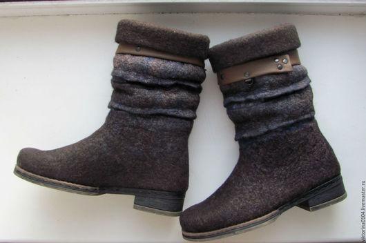 """Обувь ручной работы. Ярмарка Мастеров - ручная работа. Купить Сапожки укороченные """"Сумерки 2"""". Handmade. Коричневый"""