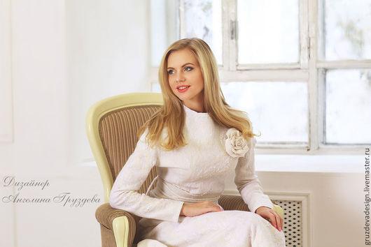 """Костюмы ручной работы. Ярмарка Мастеров - ручная работа. Купить """"Белая Роза""""  юбка+ блуза валяние. Handmade. Белый, цветы"""
