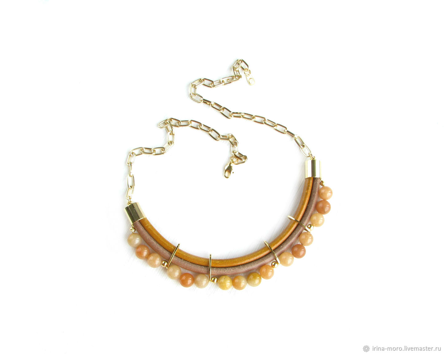 Leather necklace with agates on a chain 'Golden leaf fall' agate, Necklace, Moscow,  Фото №1
