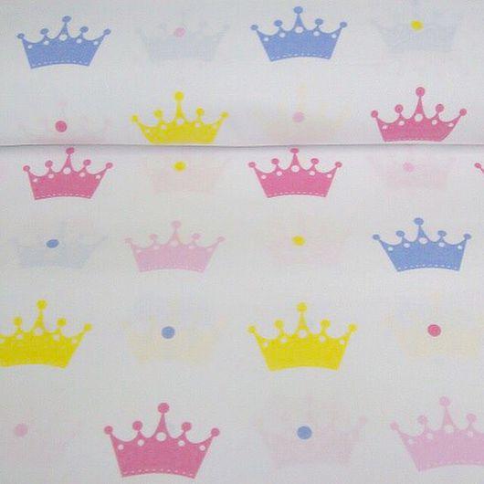 Шитье ручной работы. Ярмарка Мастеров - ручная работа. Купить Хлопок 100%, короны. Handmade. Ткань, ткань для творчества