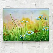 Картины и панно handmade. Livemaster - original item Watercolor Chamomile in the meadow. Handmade.