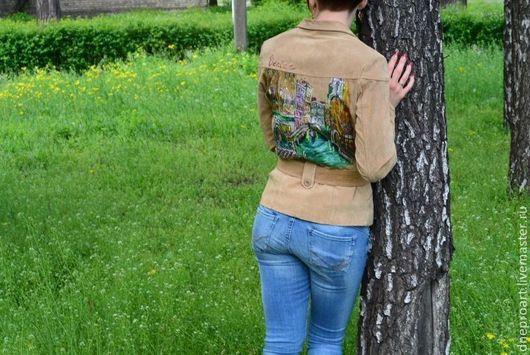 """Верхняя одежда ручной работы. Ярмарка Мастеров - ручная работа. Купить Куртка с ручной росписью """"Венеция"""". Handmade. Бежевый, пиджак"""
