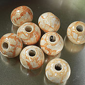 Бусины ручной работы. Ярмарка Мастеров - ручная работа Бусины керамические кремовые с золотистым, 20мм. Handmade.