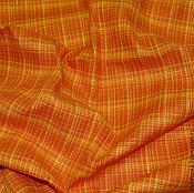 Материалы для творчества ручной работы. Ярмарка Мастеров - ручная работа Ткань льняная оранжевая клетка. Handmade.