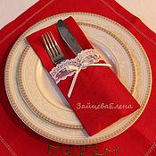 Для дома и интерьера ручной работы. Ярмарка Мастеров - ручная работа кармашки для столовых приборов red&white. Handmade.