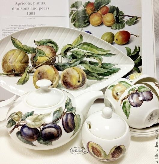 """Сервизы, чайные пары ручной работы. Ярмарка Мастеров - ручная работа. Купить Роспись фарфора Чайный сервиз """"Сочные фрукты. Handmade."""