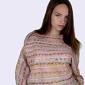 Одежда handmade. Livemaster - original item Felt light pink sweatshirt on silk.