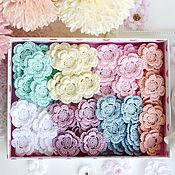 handmade. Livemaster - original item Set of 70pcs knitted volumetric flowers of delicate flowers. Handmade.