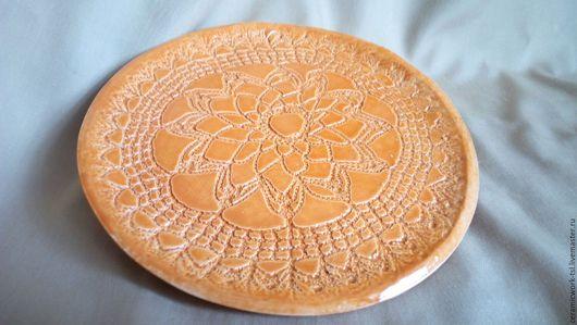 Тарелки ручной работы. Ярмарка Мастеров - ручная работа. Купить Блюдо Солнечное. Handmade. Оранжевый, блюдце для мелочей, ручная работа