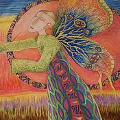 """Аксессуары ручной работы. Ярмарка Мастеров - ручная работа Шелковый платок """"Крылья"""" по мотивам Arunas Zilys. Handmade."""