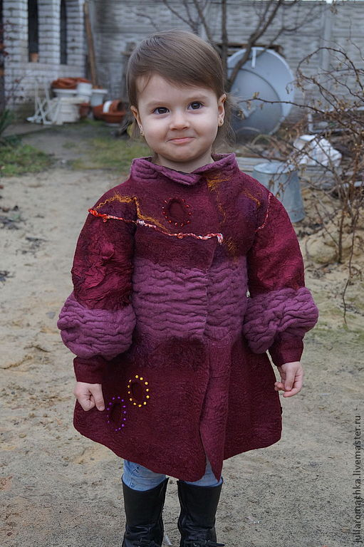 Одежда для девочек, ручной работы. Ярмарка Мастеров - ручная работа. Купить Волшебная фея.. Handmade. Бордовый, Валяние, волокна шёлка