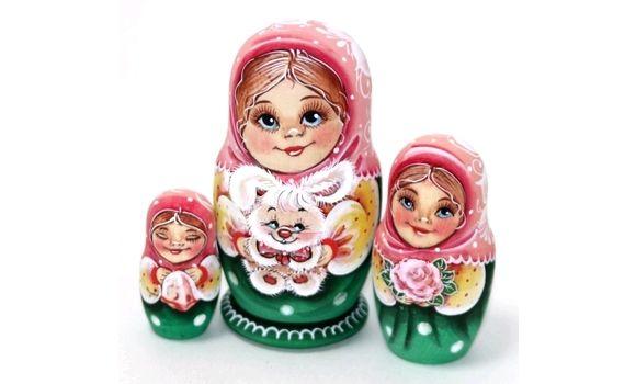 Матрешка Ира с зайцем 3м 11см, Народная кукла, Шатура,  Фото №1