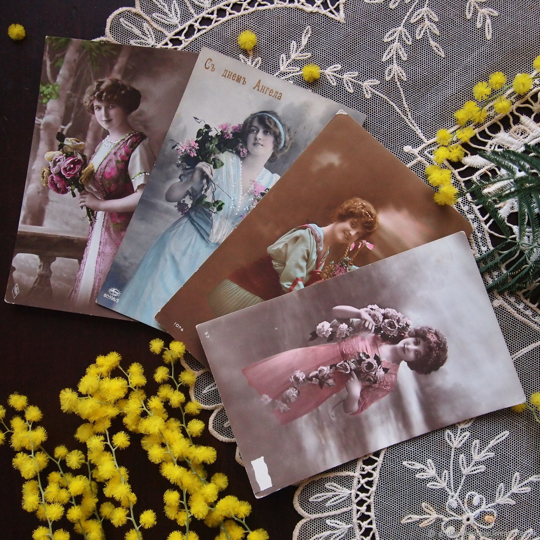 Винтаж: Девушки и цветы, две дореволюционные открытки, цена за все, Винтажные сувениры, Санкт-Петербург, Фото №1
