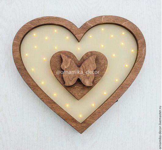 Освещение ручной работы. Ярмарка Мастеров - ручная работа. Купить Ночник Сердце. Handmade. Комбинированный, ночник для детской, светильник, из дерева