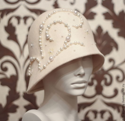 """Шляпы ручной работы. Ярмарка Мастеров - ручная работа. Купить Шляпка клош """"Жемчуг"""".. Handmade. Белый, морозный узор, велюр"""