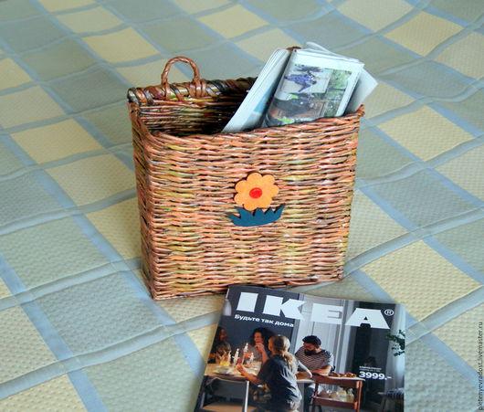 Корзины, коробы ручной работы. Ярмарка Мастеров - ручная работа. Купить Газетница. Handmade. Оранжевый, хранение, плетение, подарок на новый год