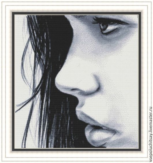 Вышивка ручной работы  Ярмарка Мастеров Ручная работа  Купить Схема для вышивки крестом Просто девушка            Hand made                                                   Черно- белая вышивка