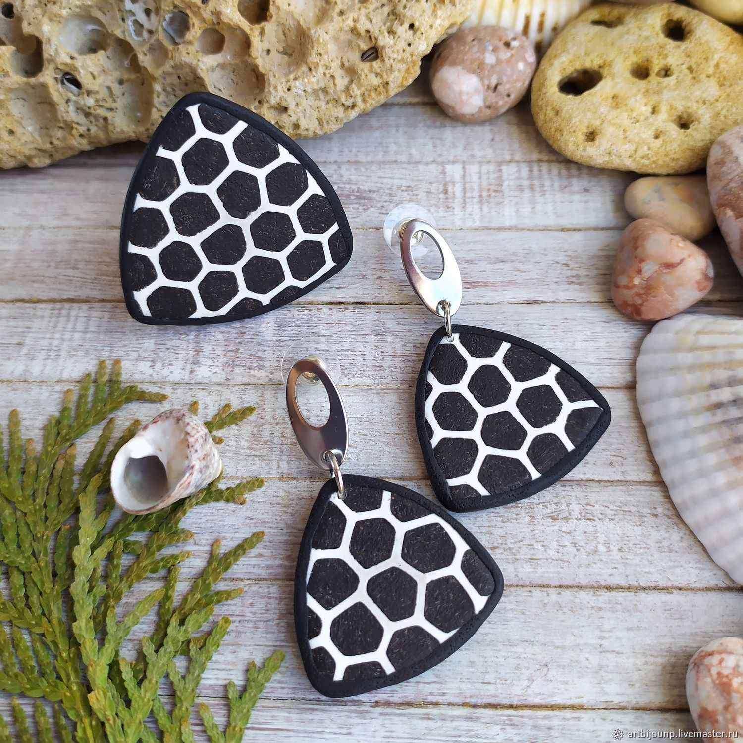 black and white. Jewelry set: poussette earrings and ring, Jewelry Sets, Zelenograd,  Фото №1