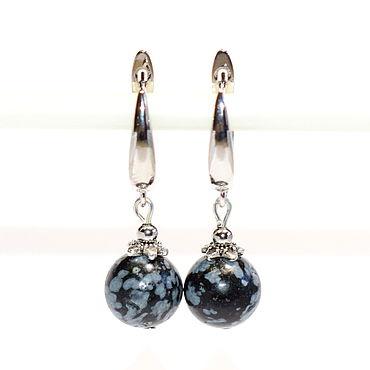 Decorations handmade. Livemaster - original item Earrings made of natural snow obsidian. Handmade.