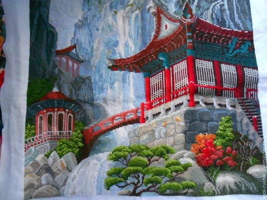 """Натюрморт ручной работы. Ярмарка Мастеров - ручная работа. Купить Картина """"Пагода и водопад"""". Handmade. Вышивка, хлопок 100%"""