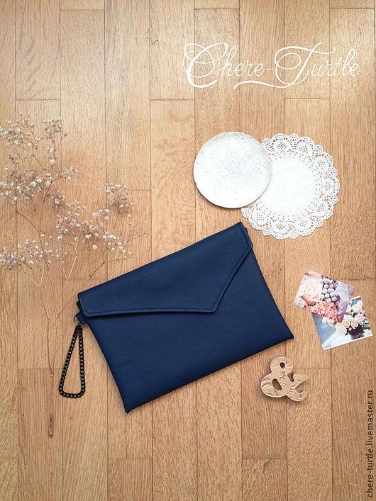 Женские сумки ручной работы. Ярмарка Мастеров - ручная работа. Купить Клатч с ассиметричным верхом (тёмно-синий). Handmade.