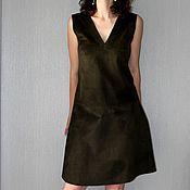 Одежда handmade. Livemaster - original item Suede sundress khaki. Handmade.