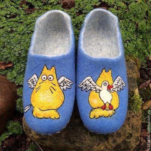 Обувь ручной работы. Ярмарка Мастеров - ручная работа. Купить домашние валяные тапочки из натуральной шерсти Чисто Ангел. Handmade.
