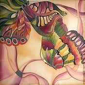 """Аксессуары ручной работы. Ярмарка Мастеров - ручная работа Шелковый платок """"Эффект бабочки"""". Handmade."""