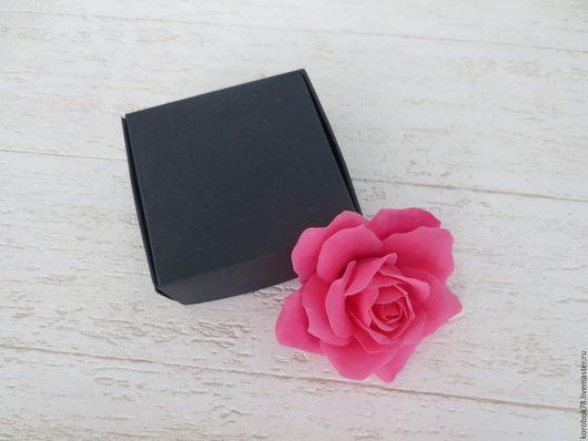 Подарочная упаковка ручной работы. Ярмарка Мастеров - ручная работа. Купить Коробка 75x75x30 самосборная, крафт-бумага, чёрная. Handmade.