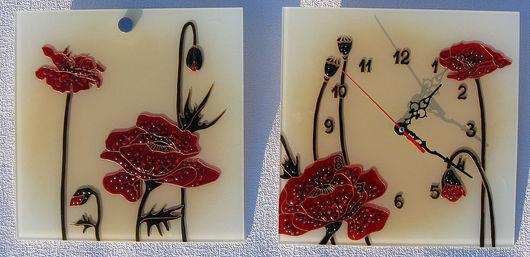 """Часы для дома ручной работы. Ярмарка Мастеров - ручная работа. Купить Триптих """"Маки"""". Handmade. Часы, цветы, подарок женщине"""