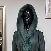 Одежда ручной работы. Ярмарка Мастеров - ручная работа Пальто с капюшоном зимнее зеленое. Handmade.