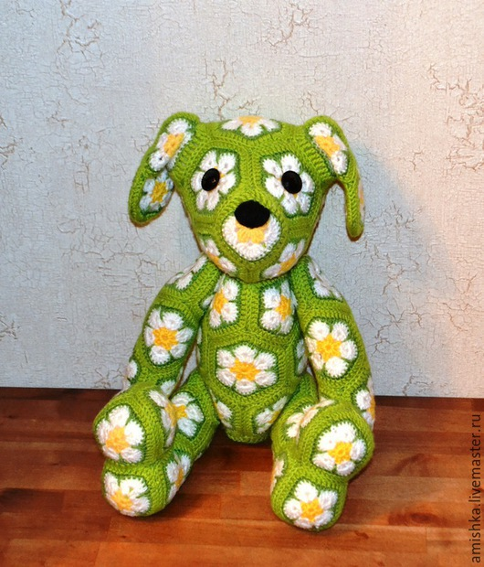 Игрушки животные, ручной работы. Ярмарка Мастеров - ручная работа. Купить Ромашковый собакен из африканских мотивов. Handmade. Разноцветный