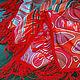 батик-платок, платок из натуральной ткани, шелк и шерсть, ручная роспись