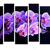 Картины и панно handmade. Livemaster - original item Orchids in a lavender color (canvas,paint). Handmade.