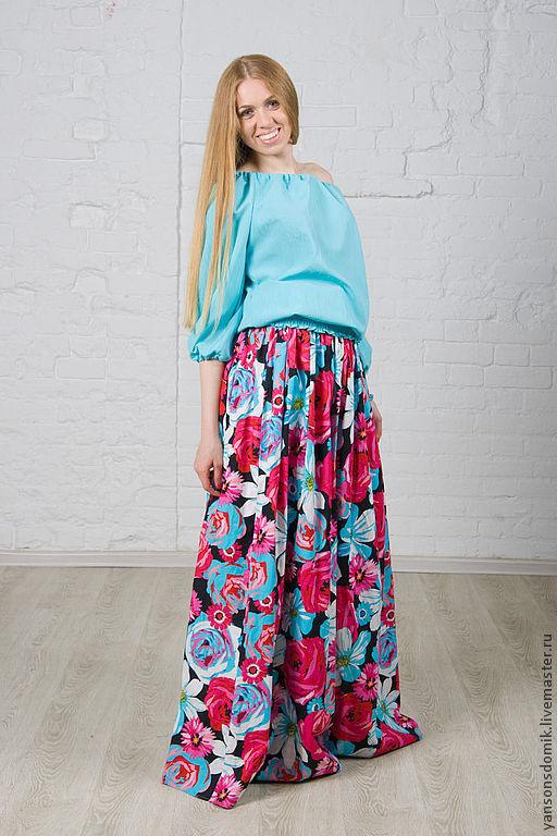 """Юбки ручной работы. Ярмарка Мастеров - ручная работа. Купить Длинная юбка в пол """"Розы. Handmade. Фуксия, красивая юбка"""
