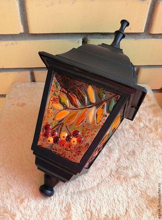"""Освещение ручной работы. Ярмарка Мастеров - ручная работа. Купить Фонарь """"Рябинка"""" фьюзинг. Handmade. Оранжевый, светильник, стеклянный, рябиновый"""