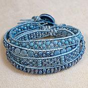 Украшения handmade. Livemaster - original item Denim Wrap Bracelet Grey-blue Leather and Beaded Bracelet. Handmade.