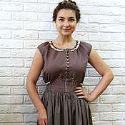 Одежда ручной работы. Ярмарка Мастеров - ручная работа Платье летнее, лён, хлопок, вышивка. Handmade.