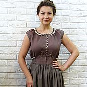 Одежда handmade. Livemaster - original item Dress, summer, linen, cotton, embroidery. Handmade.