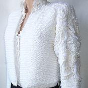 Одежда ручной работы. Ярмарка Мастеров - ручная работа Белый вязаный кардиган. Handmade.